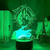 Lampada da notte in acrilico Manga The Seven Deadly Sins Gadget per la stanza di casa Luce decorativa Meliodas Figura Lampada da tavolo per bambini Regalo
