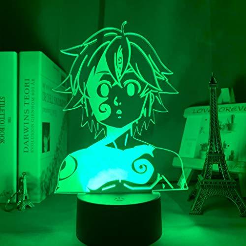 Acryl Nachtlicht Lampe Manga Die sieben Todsünden Gadget für Home Room dekorative Licht Meliodas Figur Kinder Tischlampe Geschenk