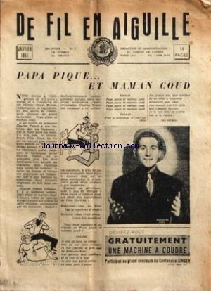 DE FIL EN AIGUILLE [No 1] du 01/01/1951 - CHARLES TRENET / PAPE PIQUE ET MAMAN COUD