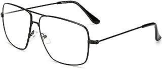 Dollger Aviator Glasses Stylish Square Non Prescription Eyeglasses Lightweight Metal Eyewear Glasses Frame