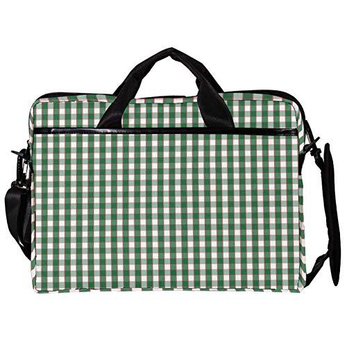14.5 Inch Laptop Messenger Bag Canvas Briefcase Green Grid Simple Pattern Satchel Shoulder Bag with Detachable Straps