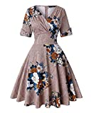 Women's V-Neck Floral Half Sleeve Midi Fit Flare Retro Dress Cocktail Dresses (Floral Khaki,Size XL)
