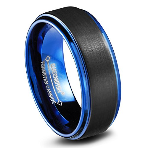 QUEENWISH 8mm Tungsten Mens Wedding Bands Brushed Matte Blue Black Two Tone Engagement Rings Comfort Fit Size 12.5 Black Titanium Tension Rings