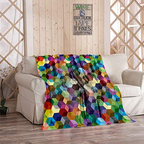 Kuidf Purple Throw Blanket Abstract Color Cubes Flannel Bedding Blankets Luxury Oversized for Couch Bed or Sofa 50x60 Inches