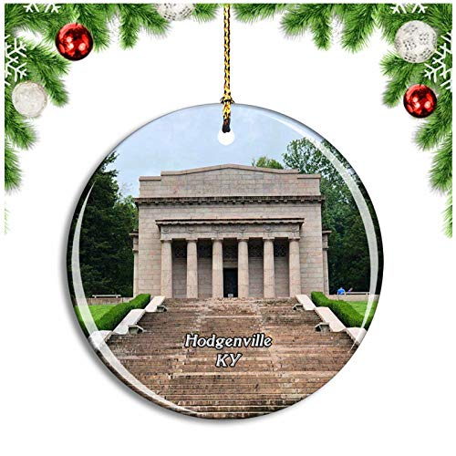 Weekino Hodgenville Lincoln Birthplace Kentucky USA Christmas Ornament Xmas Tree Decoration Hanging Pendant Travel Souvenir Collection Double Sided Porcelain 2.85 Inch