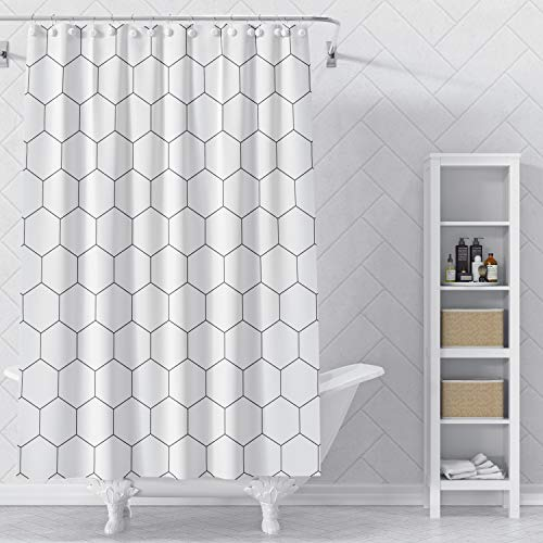 VEGA U Hexagon Fabric Shower Curtain for Bathroom, Modern Style with Hooks, 72x72 Inch, Black and White (Black)