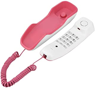 Yoidesu Wall-Mounted Telephone, Pink Desk/Wall-Mounted Telephone with Pause/Mute/Redial, Landline Landline Telephones for ...
