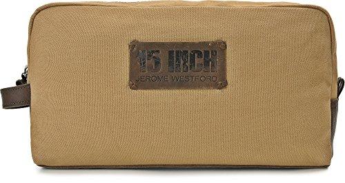 15 INCH BY JEROME WESTFORD, Trousse de toilette Unisexe en cuir toile, sacs à cosmétiques, 30 x 16,5 x 8,5 cm (l x H x P), couleur: sable