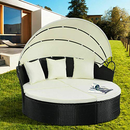 Stark Item Outdoor Patio Sofa Furniture Round Retractable Canopy Daybed Black Wicker Rattan
