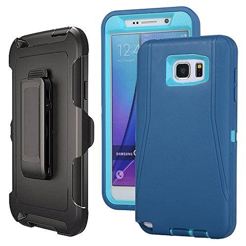 Galaxy Note 5 Case Defender,Harsel Belt-Clip Armor Shock Absorbing Heavy Duty Impact Resistant Full-Body Protective Cover Case w/Clear Screen Protector & Holster for Samsung Galaxy Note 5 (Blue)