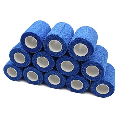 COMOmed non-stick pelle benda coesiva elastica mediche autoadesive benda mani caviglie nastro elastico autoadesivo salvapelle sport nastro bendaggio sportivo 7.5cmX4.5m Blu 12 rotolo