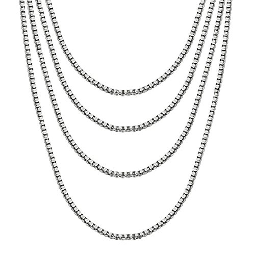 VNOX Stainless Steel Box Chain Necklace, 1mm Set of 4