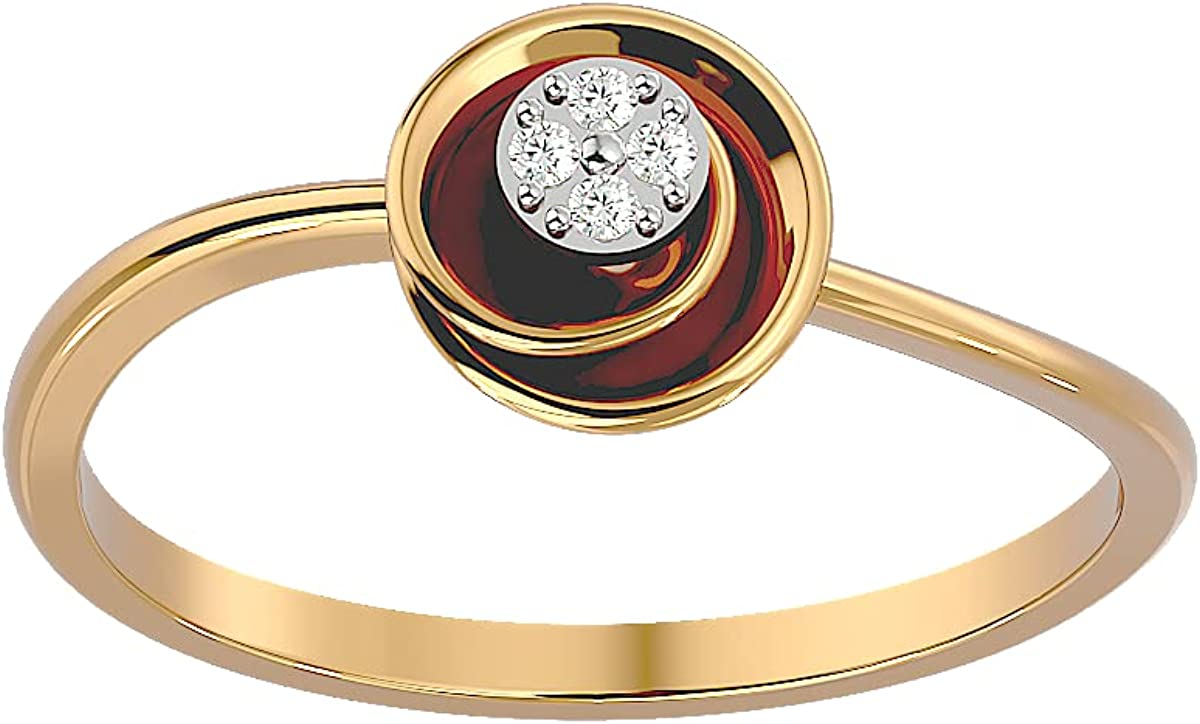 Certified 18K Gold Ring in Round w Max 88% OFF Diamond Cut Natural ct Popular overseas 0.03