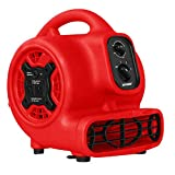 XPOWER P-230AT Mini Mighty Air Mover Utility Blower Fan with Built-In Power Outlets, Red
