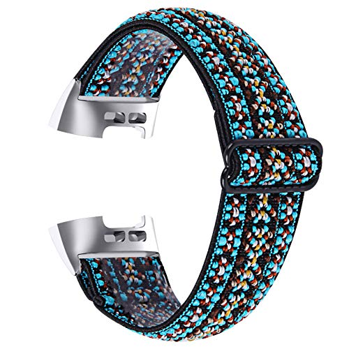 Vozehui Compatible con correa Fitbit Charge 3/Fitbit Charge 4, reemplazo elástico suave ajustable con patrón elegante, pulsera deportiva de nailon para Fitbit Charge 3/Charge 4, mujeres y hombres,