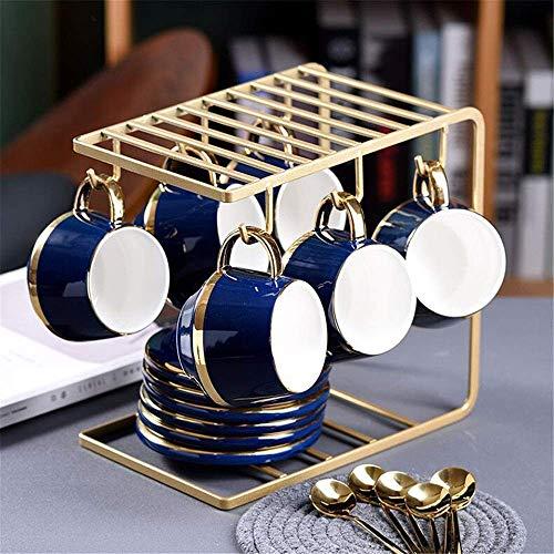 n.g. Wohnzimmer-Accessoires Nachmittagstee-Sets 13-teilig Goldrand Nordischer Stil für Party und Abendessen Glasiertes Porzellan Kaffee- und Teeservice mit 6-teiligen Tassen und Halterung