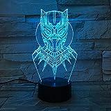 Black Panther USB Luminous Super Hero Thor Sleep Worldwide 3D LED Luz de noche Lámpara de mesa Decoración de noche Regalo para niños