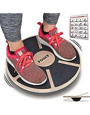 POWRX Stepper Houten Balance Board I Stepbankje voor proprioceptieve training en fysiotherapie incl. Workout I-therapiegyroscoop