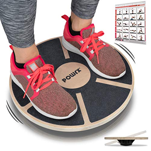 POWRX - Balance Board in Legno (Ø 39 cm) + PDF Workout