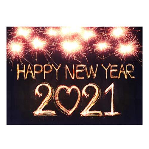 Amosfun 2021 Neujahr Party Fotografie Hintergrund 2021 Neujahr Hängenden Stoff Hintergrund Studio Prop Hängenden Stoff