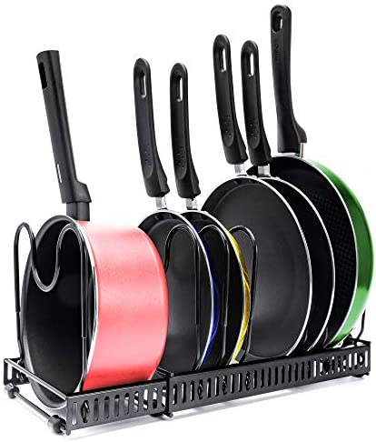 Expandable 7 Pan Organizer and Pot Rack Rustproof Kitchen Cabinet Storage Organizer For Heavy product image