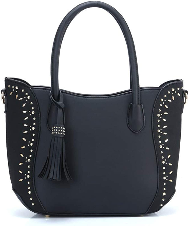 NZZNB Fashion Ladies Bag Bright Diamond Decorative Tassel Pendant Handbag Splicing Large Capacity Shoulder Bag Charming Satchel Tote Purse Top-Handle Handbags