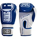Ringside Apex Boxing Kickboxing Muay Thai Training Gloves Gel Sparring Punching Bag Mitts, L/XL, Blue/White