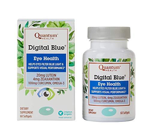 Quantum Health Digital Blue Softgels, Eye Supplement, Blue Light - Lutein, Zeaxanthin, Curcumin, Omega 3, Zinc - 60 Count