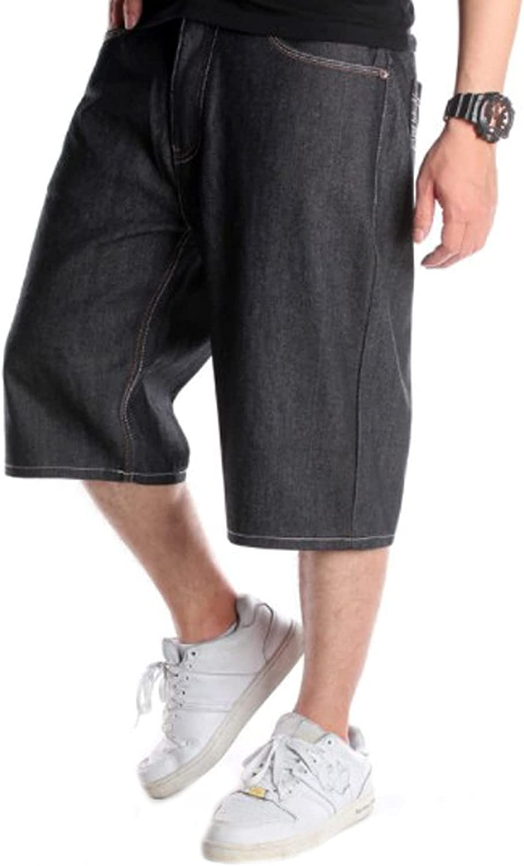 WanXingLiHe Men's Casual Denim Shorts Classic Loose Fashion Distressed Summer Short Jeans Sports Clothing,Black,44