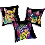 Pack of 3 Decorative Throw Pillow Cover Pink 18x18'' Cute French Bulldog Animal Cushion Cover Square Pillow Cases for Couch, Sofa, Bed, Car, Livingroom Bedroom Home Decoration