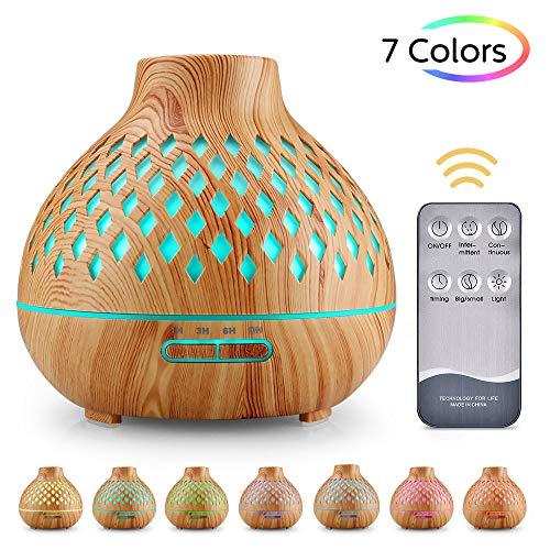 UBEGOOD Aroma Diffuser, 400ml Luftbefeuchter Ultraschall Duftlampe Atomization Elektrisch Diffusor mit 7 Farben LED Ätherische Öle Luftbefeuchter für zuhause, Yoga, Büro, SPA, Schlafzimmer