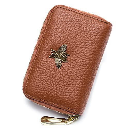 imeetu RFID Credit Card Holder, Small Leather Zipper Card Case Wallet for Women(Brown)