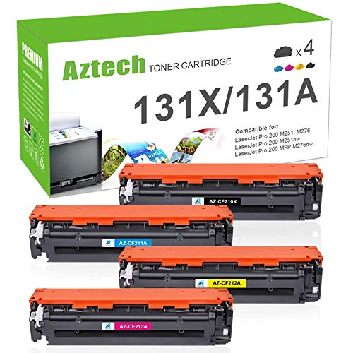 Aztech Compatible Toner Cartridge Replacement for HP 131A 131X HP Laserjet Pro 200 Color M251nw M251n MFP M276nw M276n CF210X CF211A CF212A CF213A (Black/Cyan/Yellow/Magenta, 4-Pack)