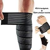 Lezed (2 pezzi) Fasciatura | Bendaggio del gomito | Fasciatura elastica regolabile per polso e ginocchio | Fasciatura di sostegno alla caviglia (polso da 40 cm + caviglia sagittario da 70 cm)