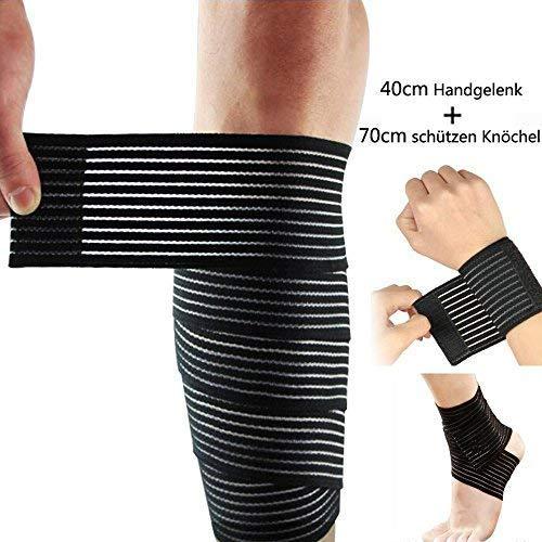 Lezed (2 PC Vendaje | Vendaje de Codo | Vendaje elástico Ajustable de la muñeca y de la Rodilla | Vendaje de Soporte para el Tobillo (40 cm + 70 cm de la muñeca Tobillo Protección)