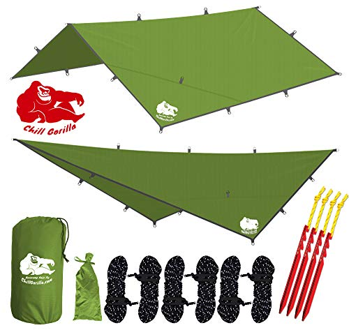 "Chill Gorilla 12x12 Hammock Rain Fly Camping Tarp. Ripstop Nylon. 203"" Centerline. Stakes, Ropes & Tensioners Included. Camping Gear & Accessories. Perfect Hammock Tent. Green"