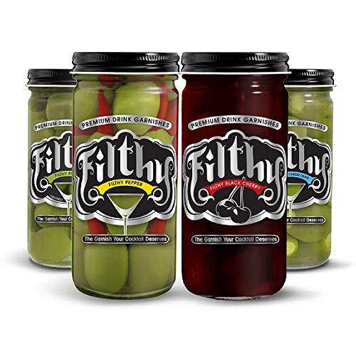 Filthy Food Cocktail Variety Bundle - Premium Cocktail Garnishes, Non-GMO & Gluten Free - 8oz Jar, 4 Count
