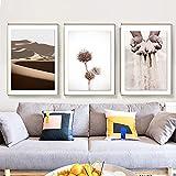 Arte de pared Pintura en lienzo Carteles e impresiones nórdicos Arena Mano Flor Reed Dune Cuadros de pared para sala de estar Decoración del hogar 50x80cmx3pcs Sin marco