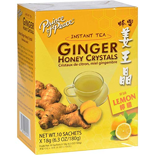 Prince of Peace Tea - Instant - Ginger Honey Crystals - with Lemon - 10 Sachets