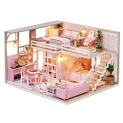 moin moin ドールハウス ミニチュア 手作りキット セット 犬と暮らす 現代モダン な 二階建て の おしゃれ ピンク ガーリー フェミニン ハウス   中型   LEDライト + アクリルケース 付属