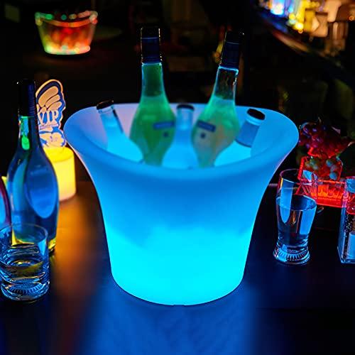 Cubo de hielo LED – Cubo de hielo de degradado colorido, con control remoto, puede cambiar 16 colores, ideal para bar en el hogar, cerveza, champán y vino (1 unidad)