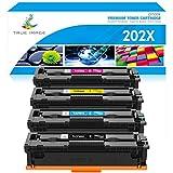 TRUE IMAGE Compatible Toner Cartridge Replacement for HP 202X CF500X CF500A 202A HP Color Laserjet Pro MFP M281fdw M281cdw M254dw M281fdn M254 M281 Toner Printer (Black Cyan Yellow Magenta, 4-Pack)