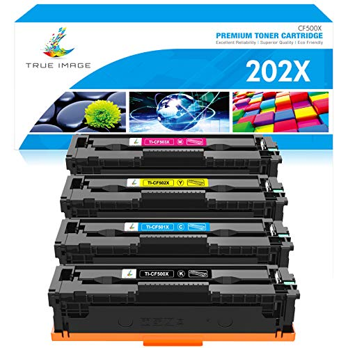 True Image Compatible Toner Cartridge Replacement for HP 202A 202X CF500X CF501X CF502X CF503X M281 Color Laserjet Pro M281fdw M281cdw M254dw M254 M254nw M281fdn (Black Cyan Yellow Magenta, 4-Pack)