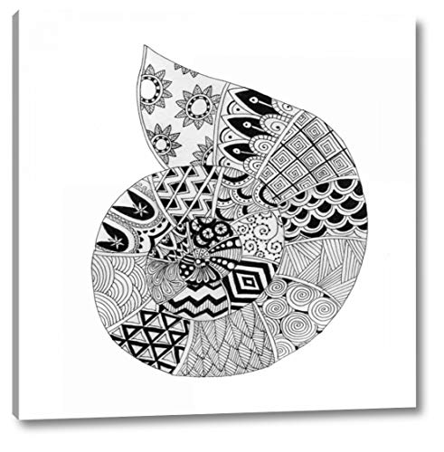 """BW Decorated Nautilus by Pam Varacek - 24"""" x 24"""" Canvas Art Print Gallery Wrapped - Ready to Hang"""