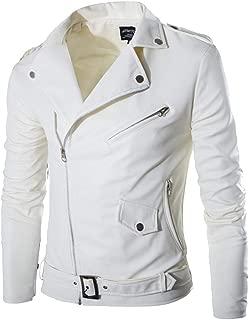 Men's Leather Jacket Autumn Winter Casual Zipper Long Sleeve White Coat Tops