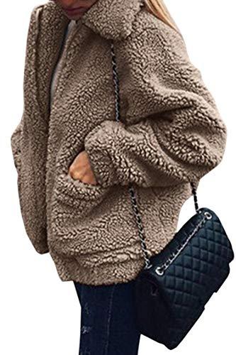 ECOWISH Damen Mantel Revers Faux Für Lose Langarm Outwear Tasche Reißverschluss Winterjacke Mode Kurz Coat Khaki L