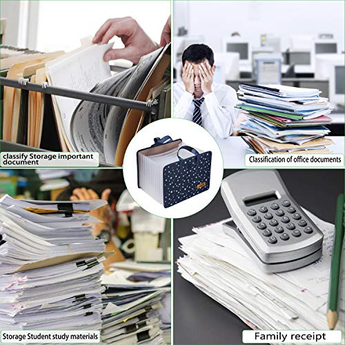 JIEQI Expanding File Folder Document Organizer, 13 Pockets File Folders/Expandable Filing Folders with Handle A4 Size Accordion (Blue) Photo #4