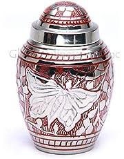 Cremation Urns Mini mariposa grabada roja para cenizas.
