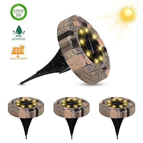 Redmoo Solarleuchten für Außen, 4er Set 8 LEDs Solar Bodenleuchten, IP65 Wasserdichte Energiesparende Solarleuchten Solarlampen für Außen Terrasse Rasen Garten, Warmweiß