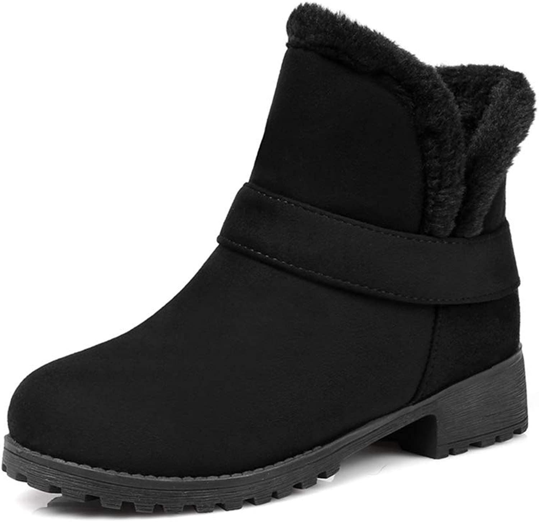 Lelehwhge Winter Women Warm Ankle Snow Boots Comfortable Plush Fur Slip On shoes Beige 8 M US